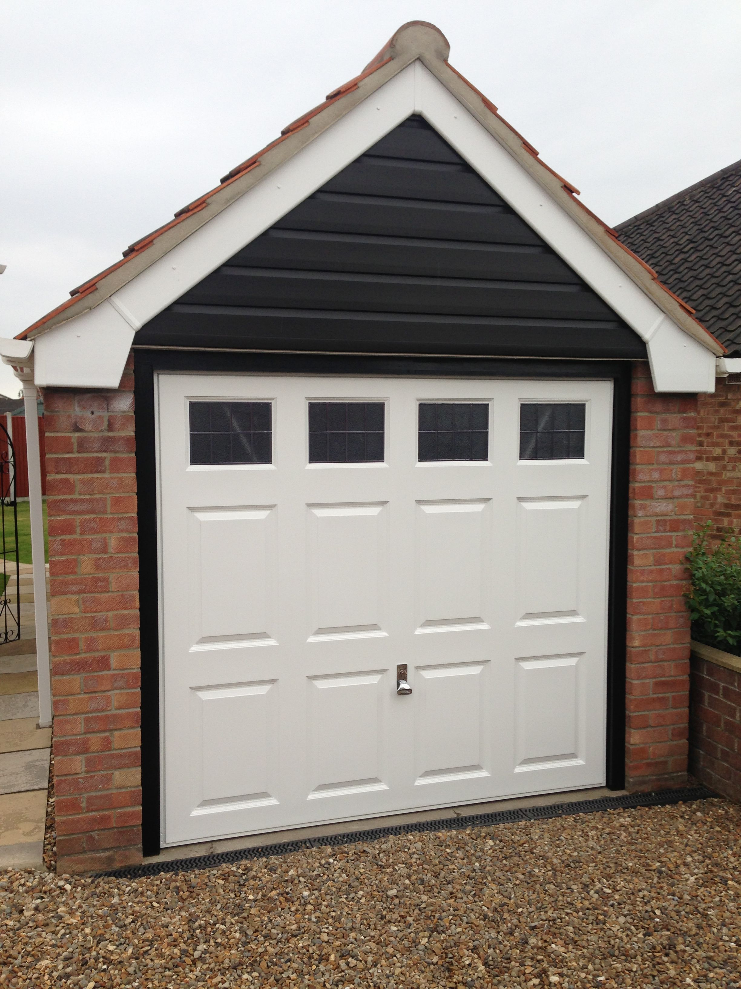 An example of our garage doors in navy blue